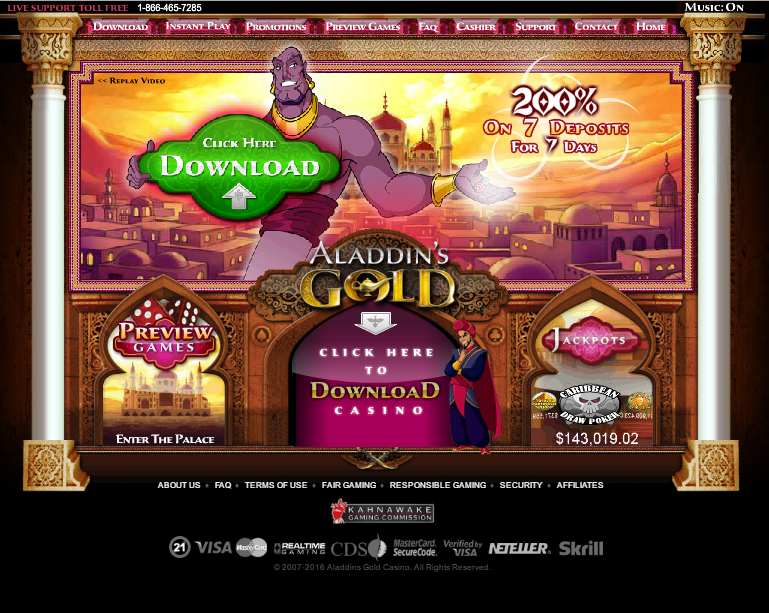 aladdins gold casino 200% on 7 deposits for 7 days welcome offer