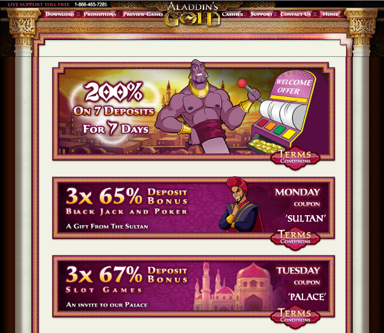 aladdins gold casino promotions for all players