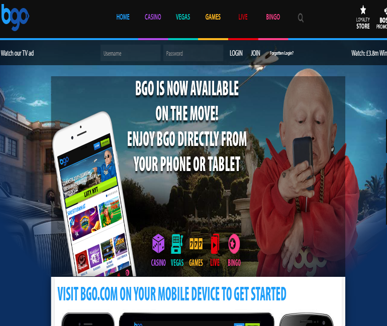 BGO Mobile Casino for smartphone and tablet