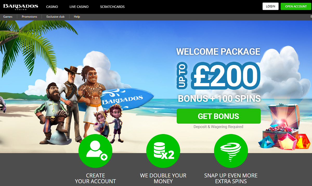 barbados casino homepage - welcome offer