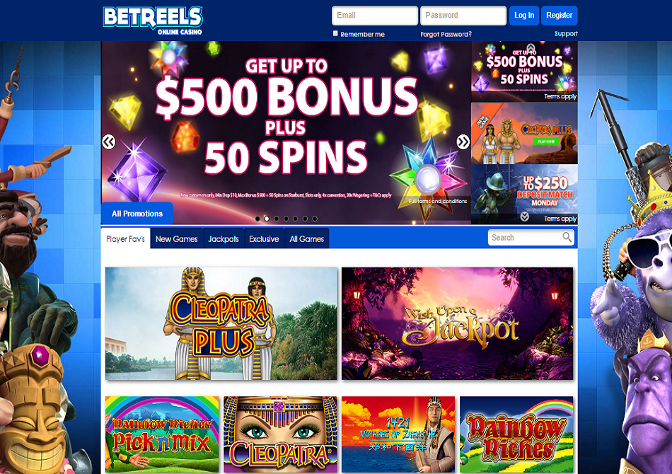 betreels casino bonus and free spins