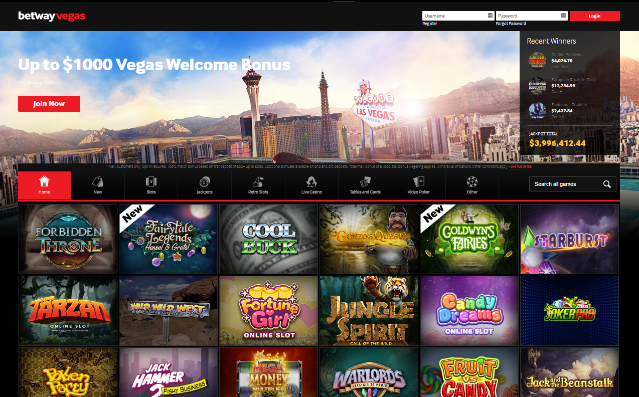 betway vegas homepage - welcome bonus