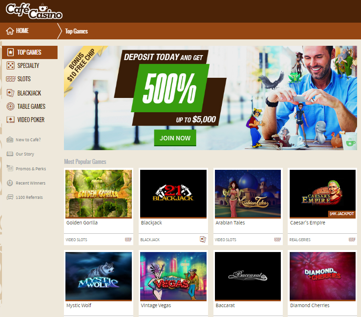 café casino 500% welcome bonus up to $5,000