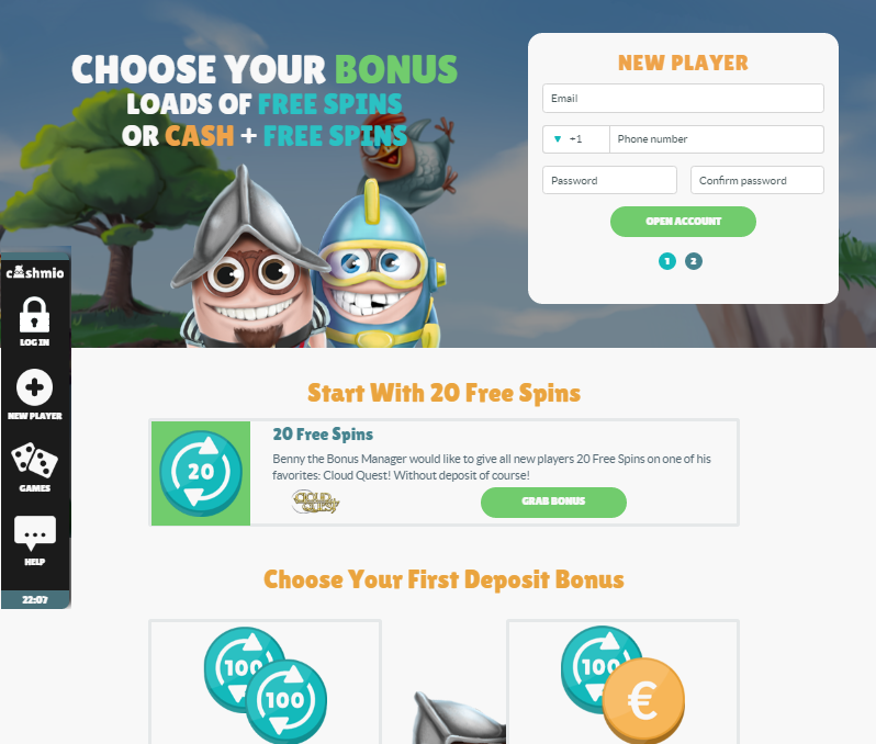 cashmio casino choose your first deposit bonus