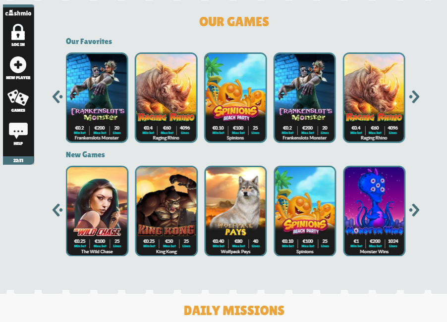 cashmio casino games selection