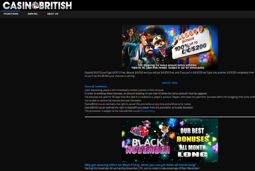 casino british promotion offers