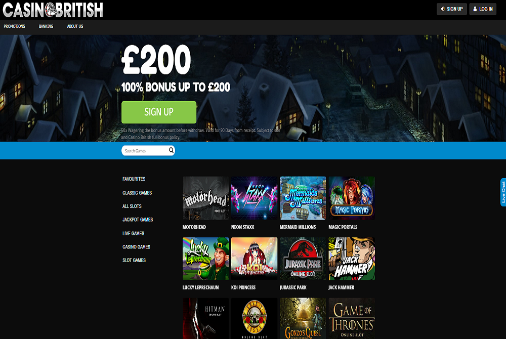 casino british sign up bonus