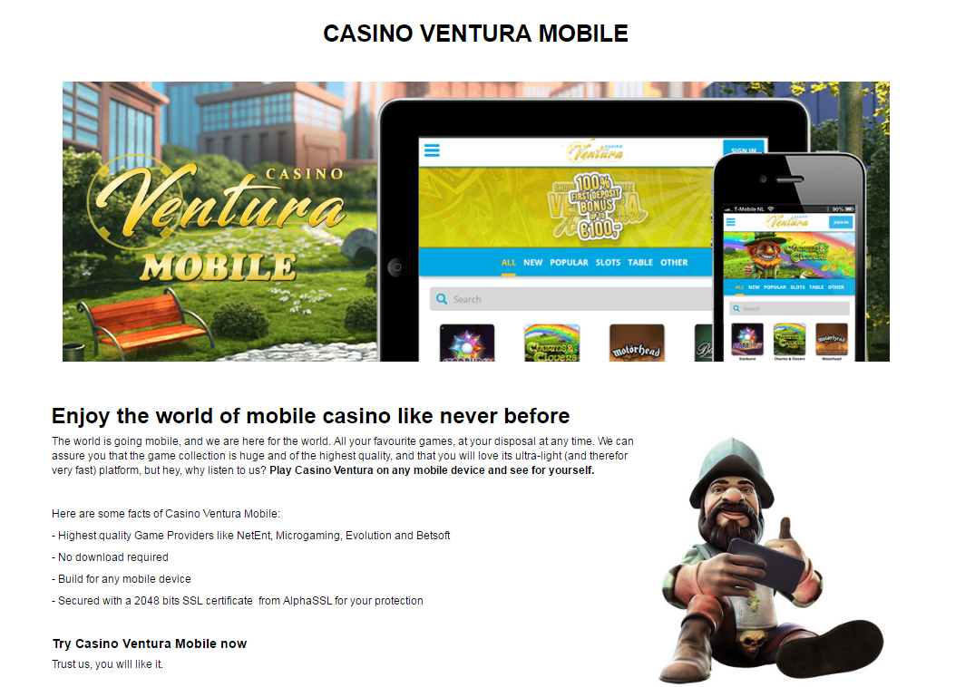 Casino Ventura Mobile Games Page
