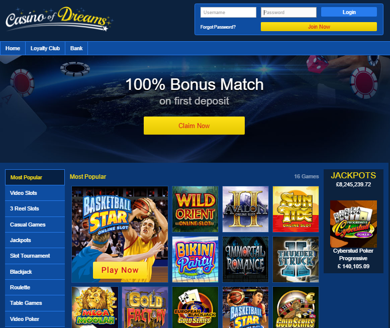 casino of dreams 100% match bonus