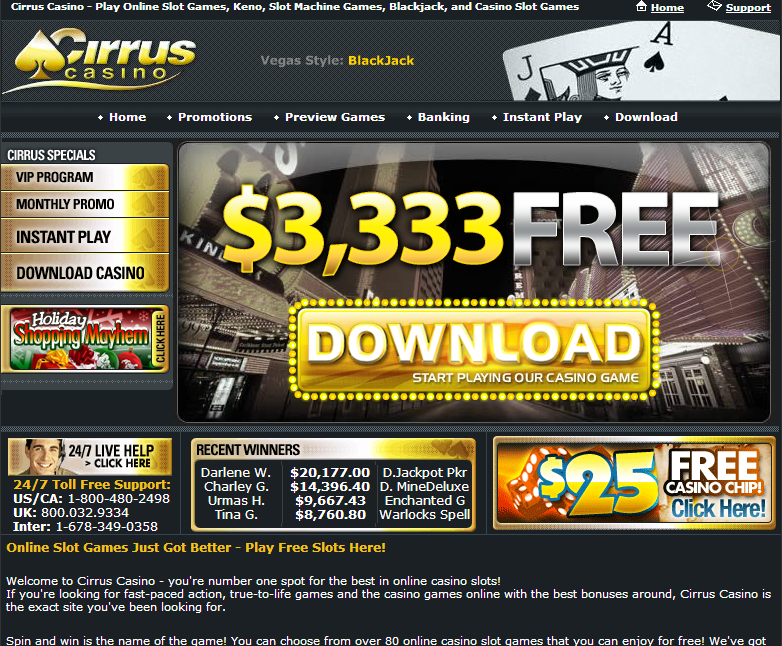 cirrus casino 333% up to $3333