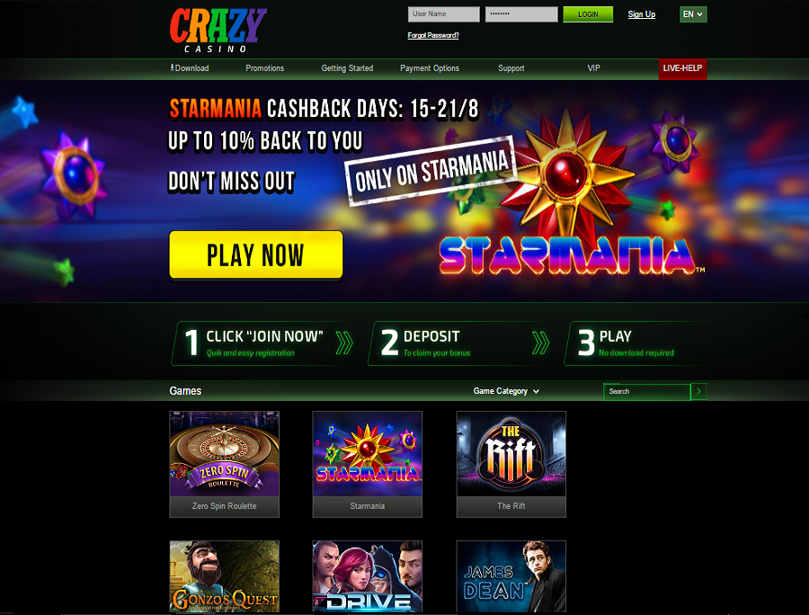 crazy casino starmania cashback days