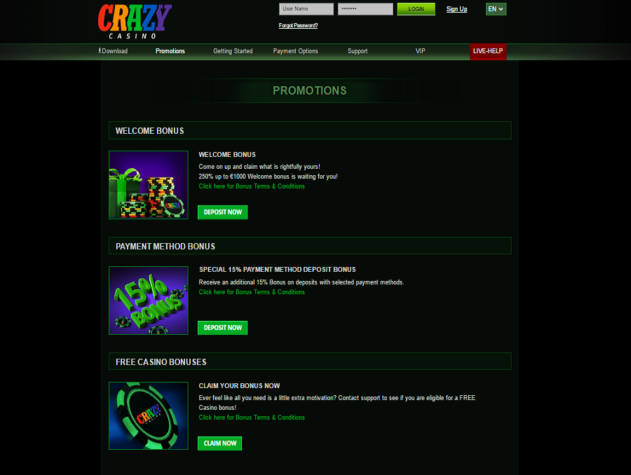 crazy casino promotional offers