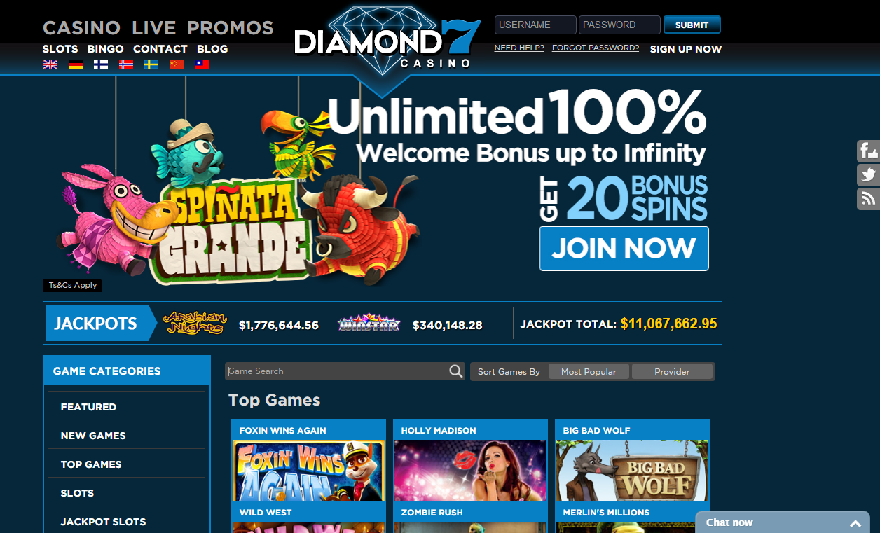 diamond7 casino unlimited 100% welcome bonus