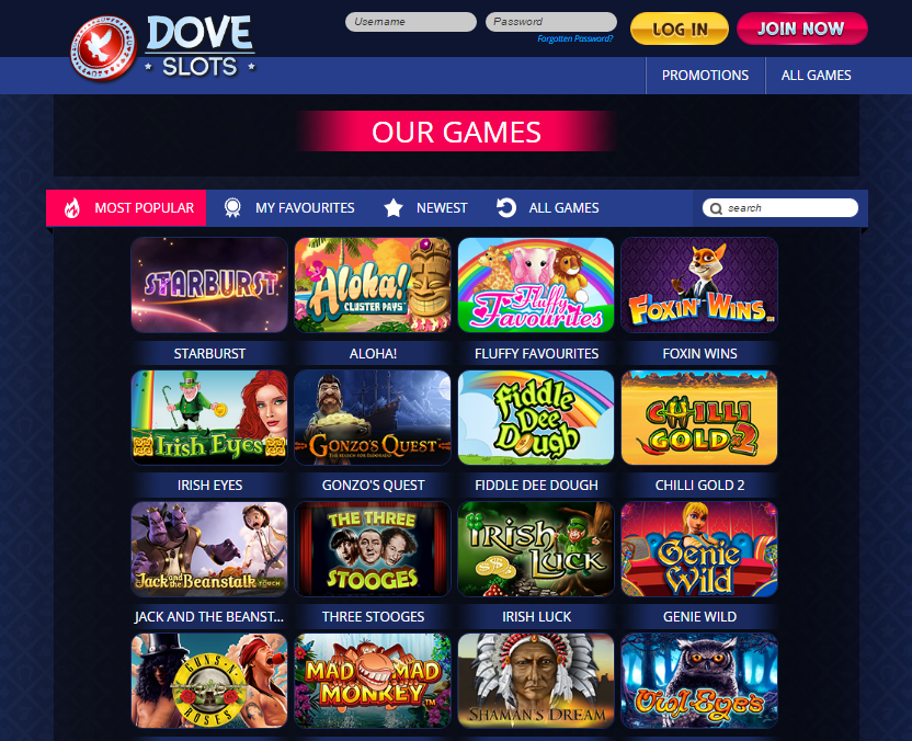 dove slots casino games offering