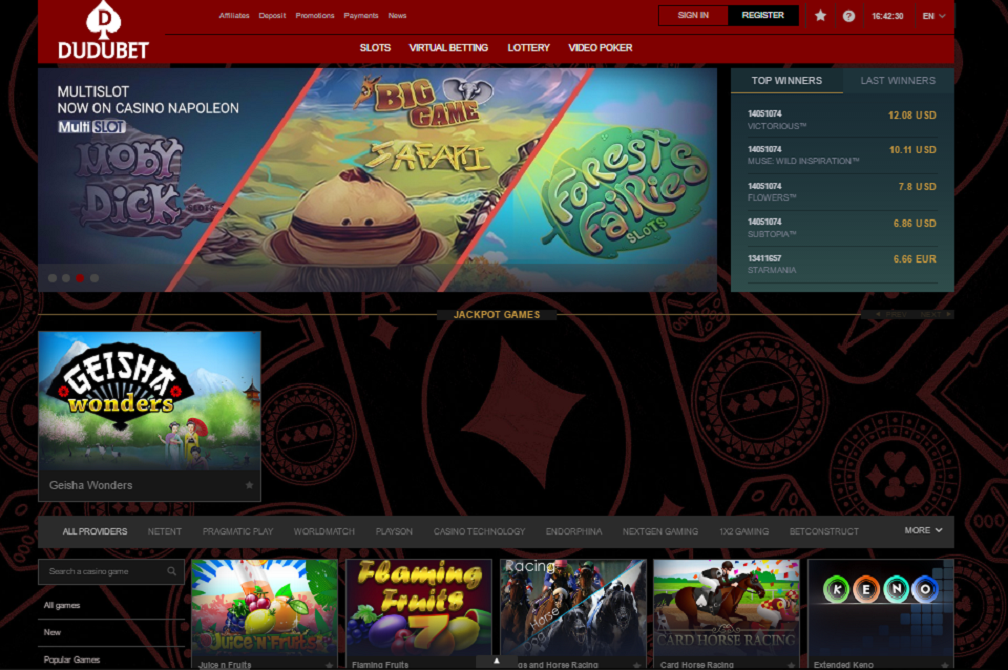 dudubet casino welcome page