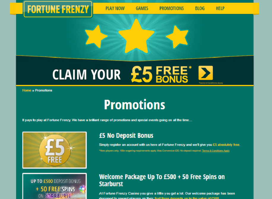 fortune frenzy casino promotions