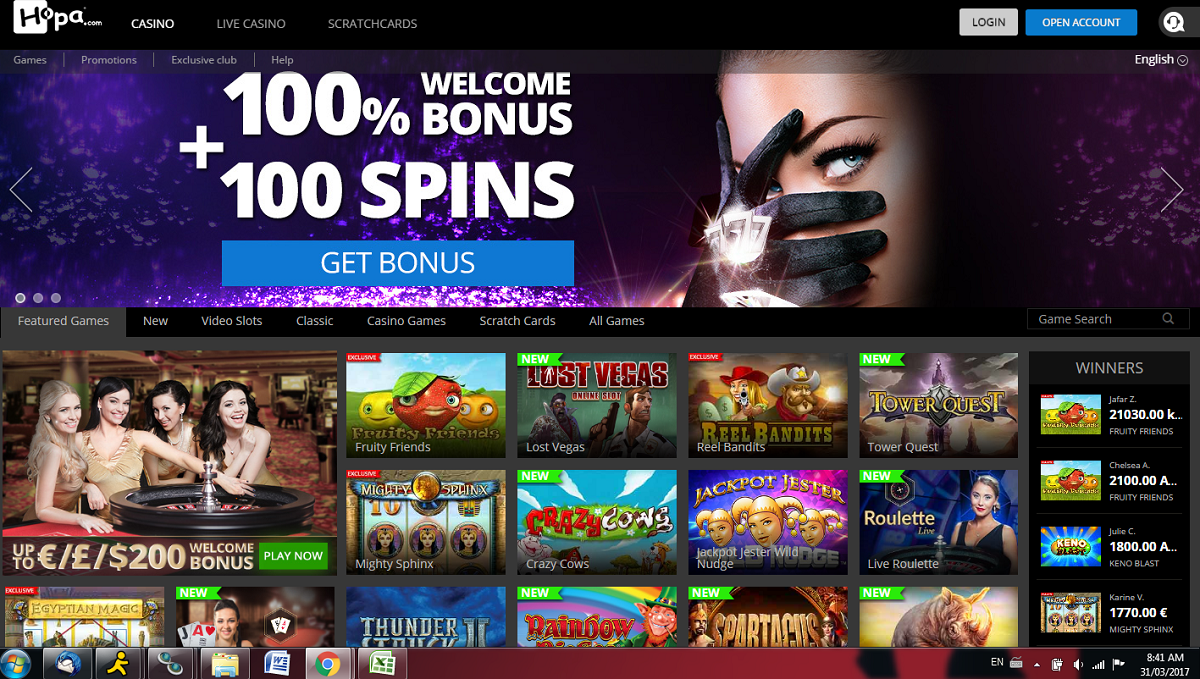 hopa casino - welcome bonus