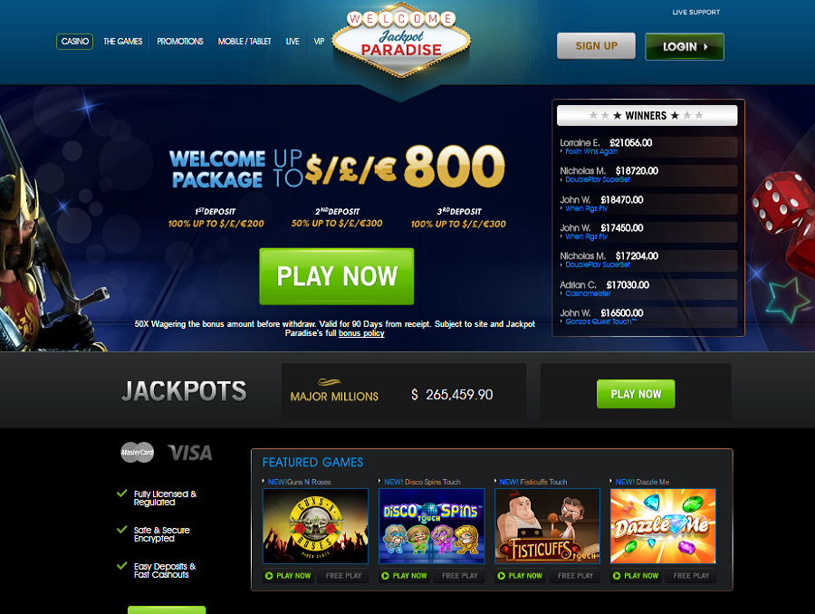 jackpot paradise casino welcome package