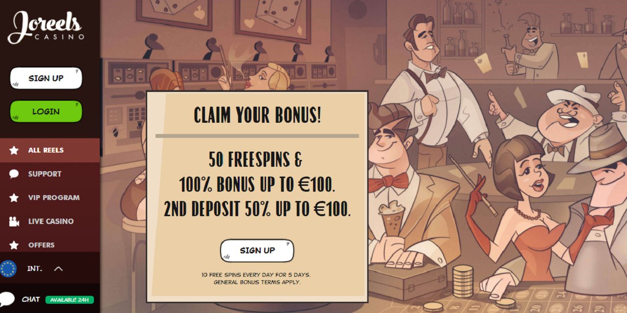 joreels casino homepage - welcome offer