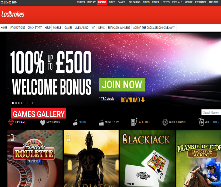ladbrokes casino £500 welcome bonus