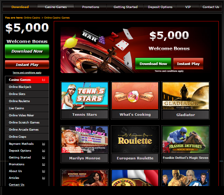 mansion casino games + $5,000 bonus