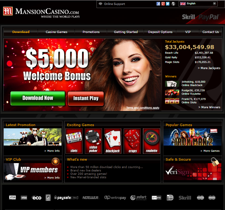 mansion casino $5,000 welcome bonus