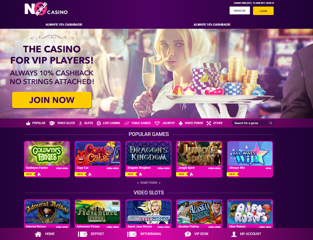 no bonus casino homepage cashback