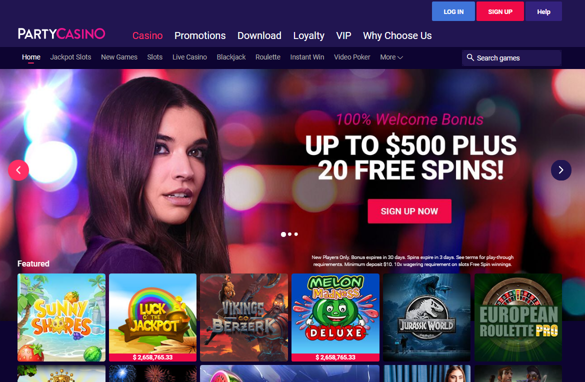 partycasino homepage - welcome bonus
