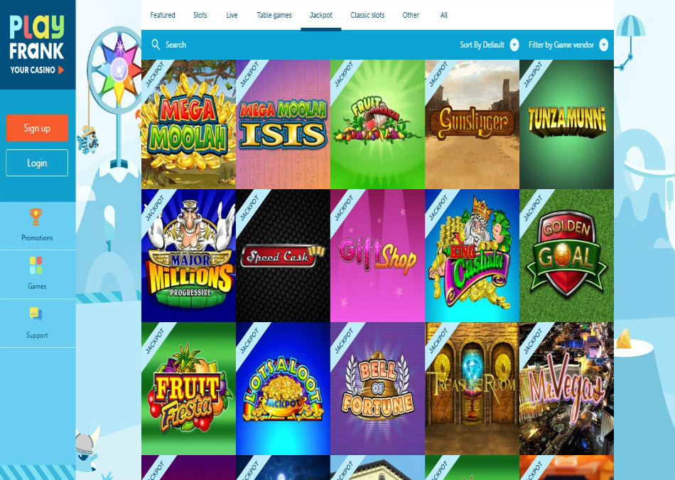playfrank casino jackpot games