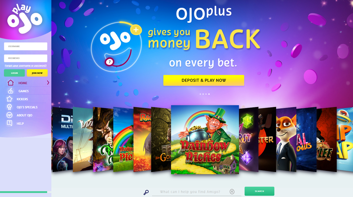 playojo casino - ojoplus gives you money back on every bet