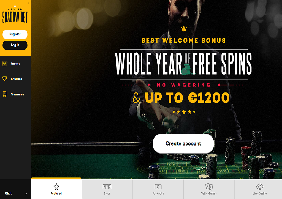 shadow bet casino frees spins for a year welcome bonus