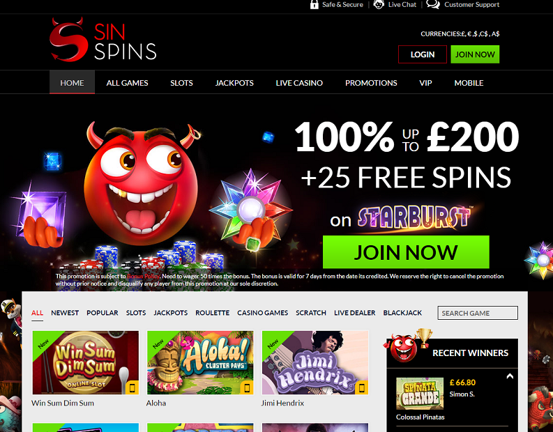 sin spins casino home 100% + 25 free spins welcome offer