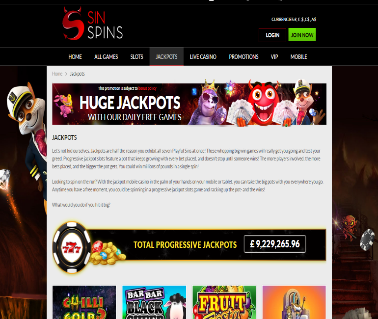 sin spins casino jackpots huge jackpots with daily free games