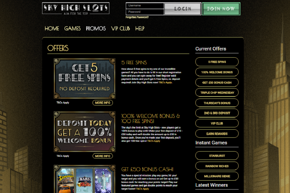 sky high slots casino offers