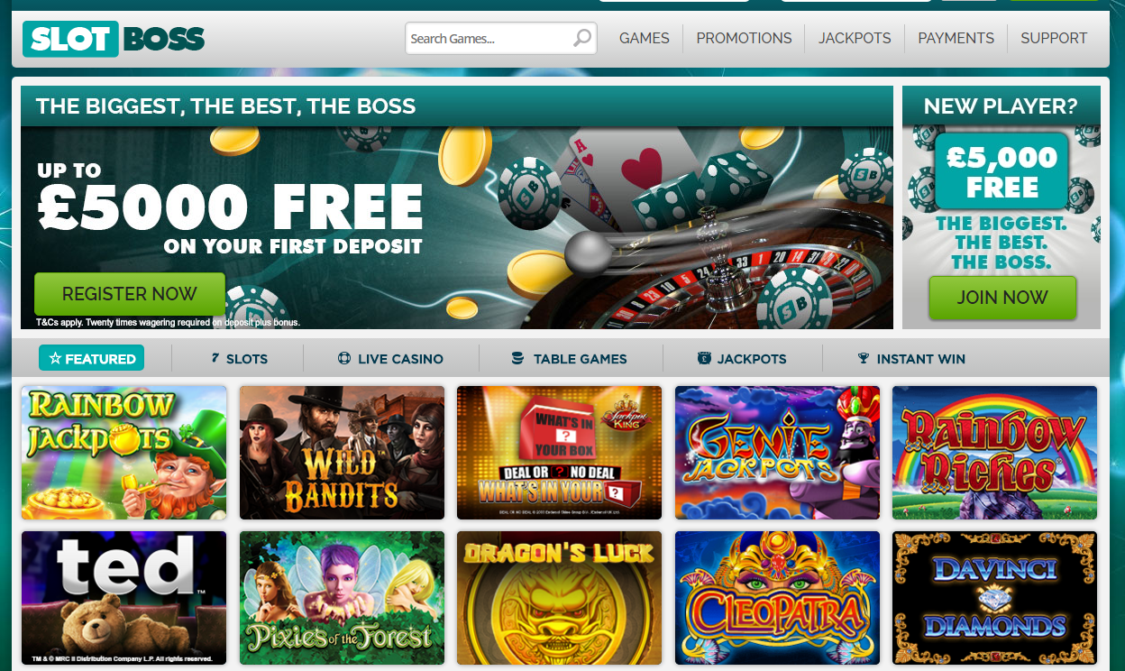 slotboss casino homepage - welcome offer