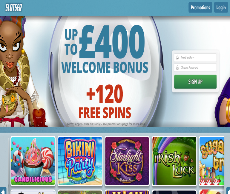 slotser casino £400 welcome bonus + 120 free spins