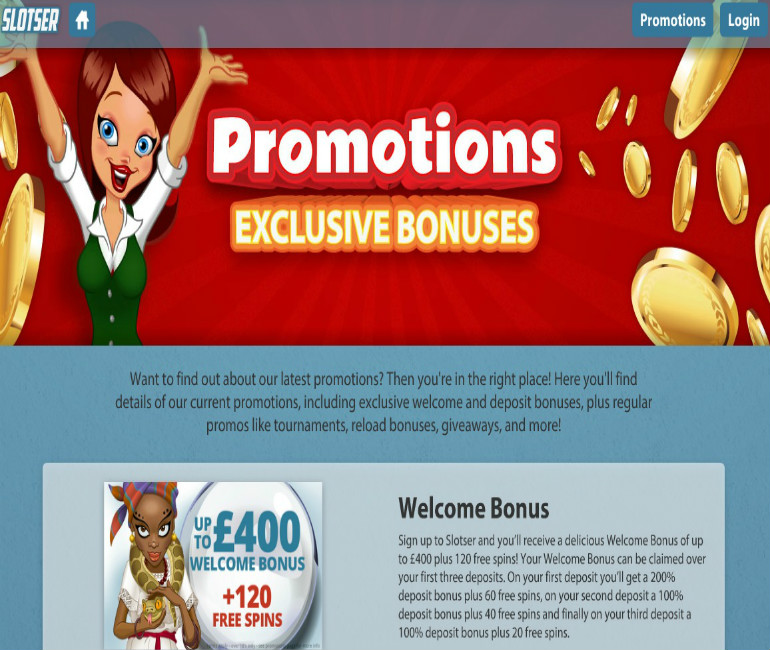 slotser casino exclusive promotions