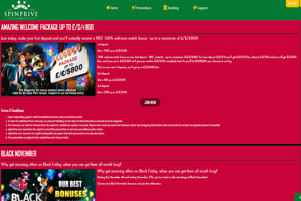 spin prive casino promotions