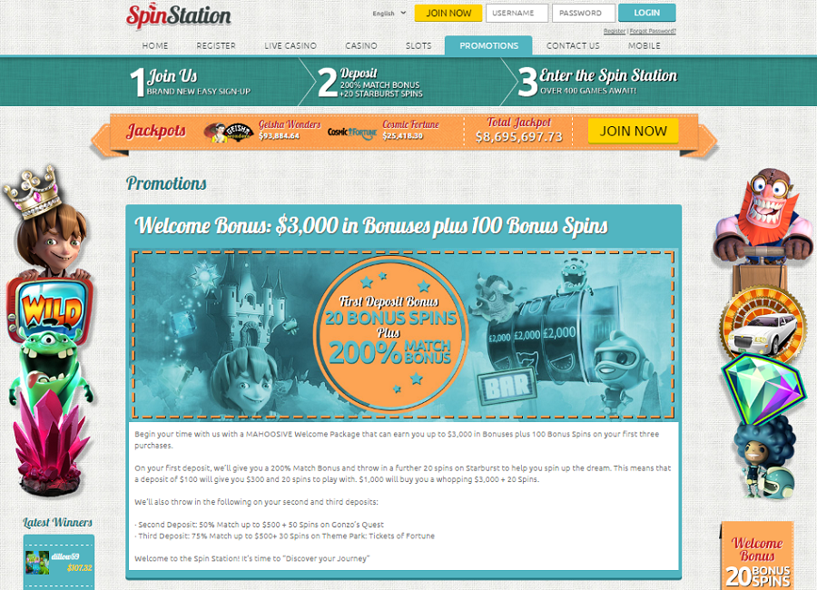 spin station casino welcome bonus and promotions