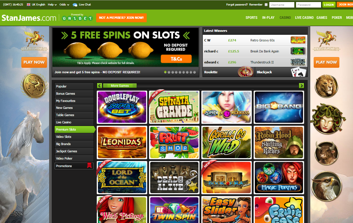 stan james casino premium slots