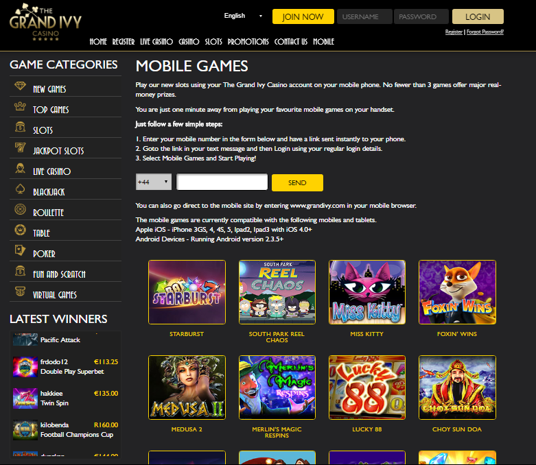 The Grand Ivy Casino Mobile Casino Offering