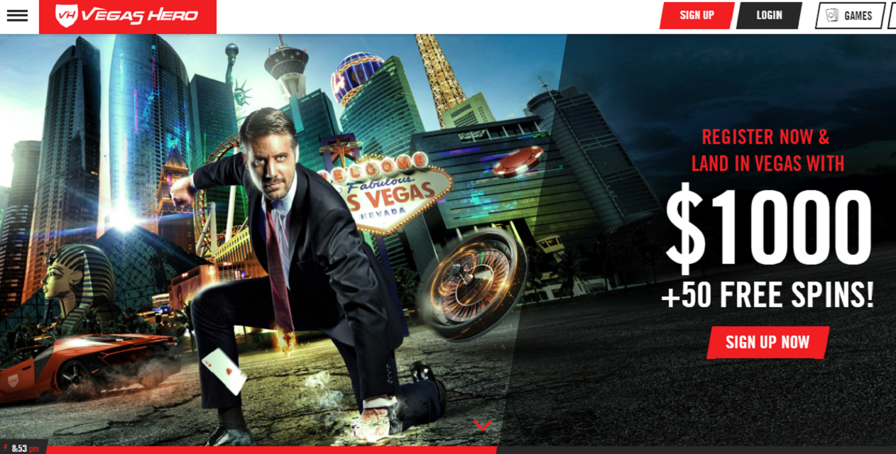 vegs hero casino homepage welcome offer