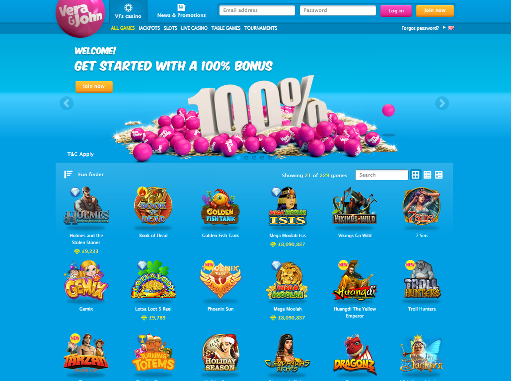 vera&john casino 100% welcome bonus