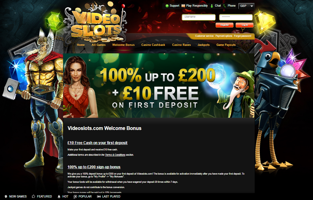 videoslots casino welcome bonus offer
