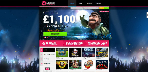 Wicked Jackpots Casino Homepage