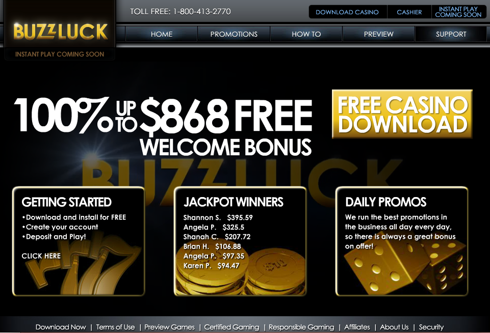 buzzluck casino bonus 110% up to $868 free