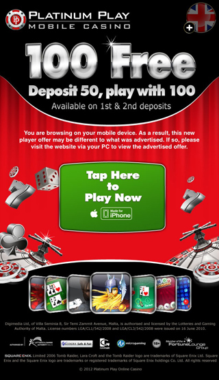 platinum play casino register