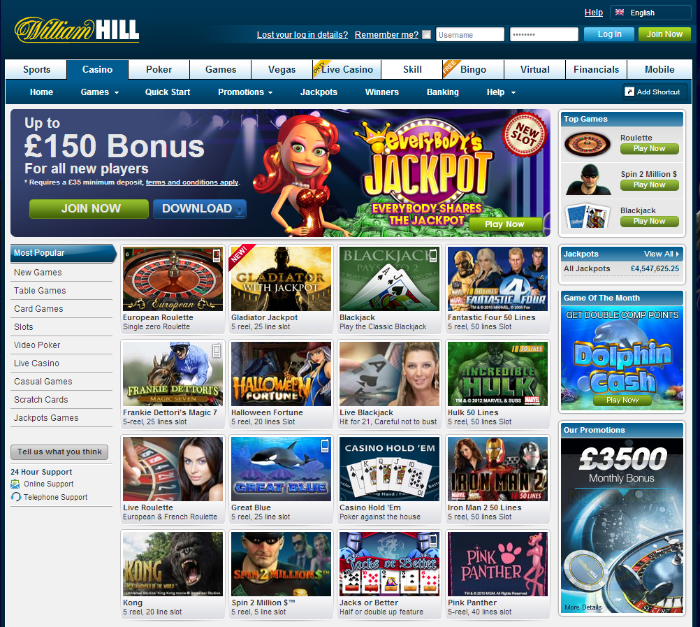 william hill slots login