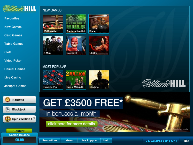 william hill casino lobby